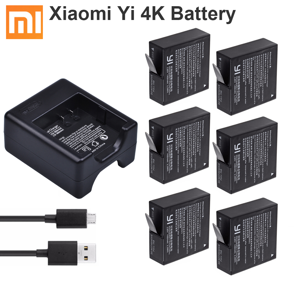 Original Xiao Mi Yi 4K Battery 1400mAh AZ16-1batteries + Dual Charger For Xiaomi Yi 4K Lite Batteria Xiaoyi Camera Accessories