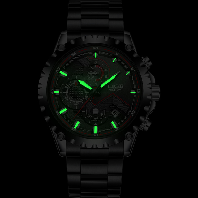 LIGE Waterproof Quartz Steel Army Military Watch 4