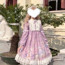 Kawaii/платье в стиле Лолиты с длинными рукавами; кружевное платье в стиле Лолиты с бантом; JSK; милое мягкое платье с длинными рукавами для девочек; милые платья с героями мультфильмов