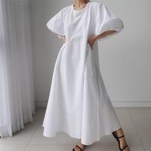 Johnature Korean Loose Women Dresses 2021 Summer New Solid Color O-neck Lantern Sleeve Pockets Female Dress