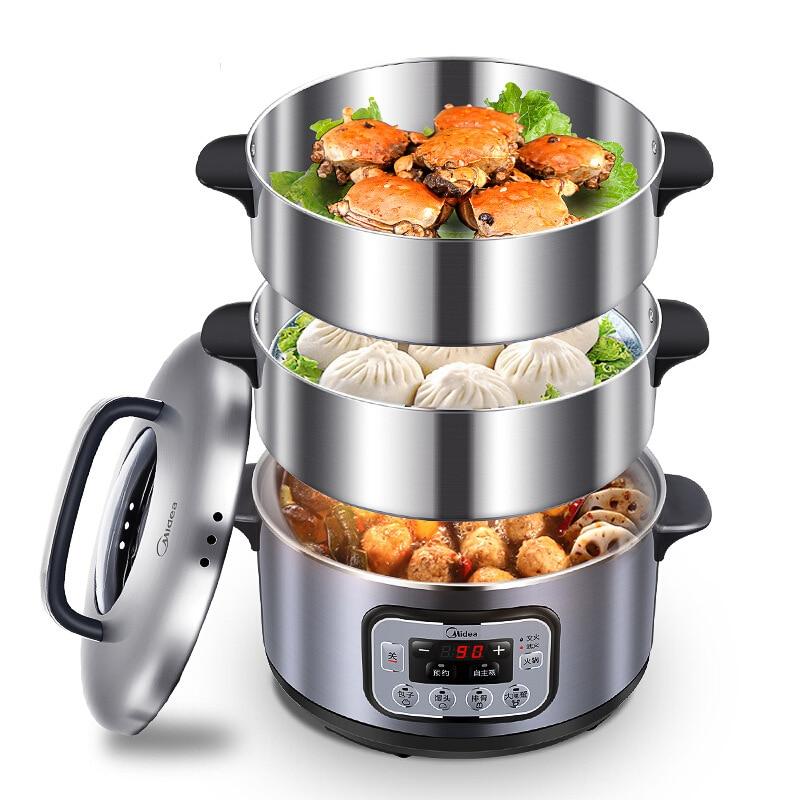 Ev Aletleri'ten Elektrikli Gıda Buharlayıcıları'de Elektrikli buharlayıcı 3 katmanlı yüksek kapasiteli çok fonksiyonlu randevu zamanlama paslanmaz çelik buharlı tencere gıda buharlı pirinç pişirici Pot title=