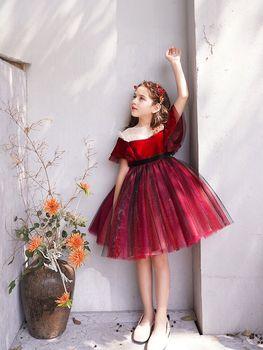 High Quality Flower Wedding Party Dresses O-Neck Big bow Elegant Sequined Christmas Dress