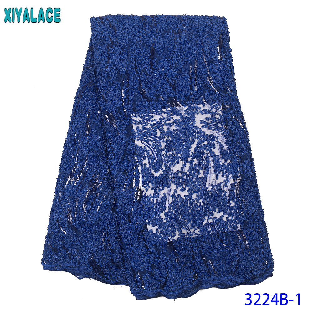 2020 African Fabric Lace Nigerian Lace Fabric High Quality Net Laces French Embroidered Fabrics Laces With Sequins Beads KS3224B