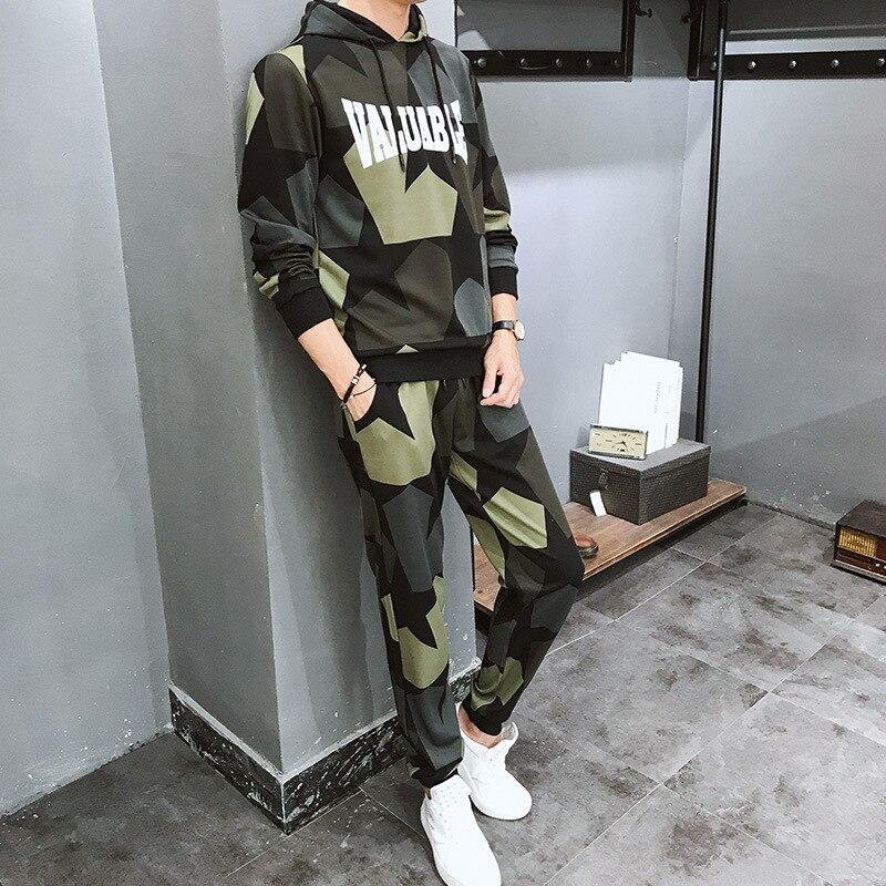 Sports Suit Male Long Sleeve 2019 Autumn Camouflage Lian Cap Leisure Trend Two-piece Set Return