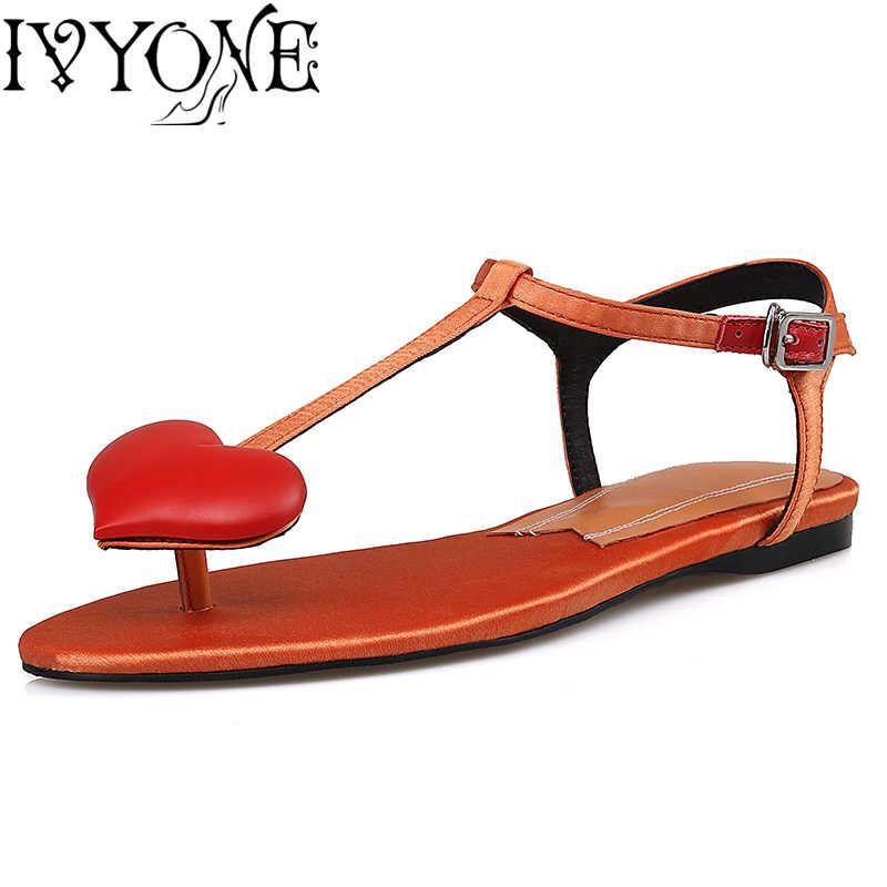 Милые летние женские сандалии в форме сердца повседневные пляжные ботинки из натуральной кожи на плоской подошве с круглым носком разных цветов Большие размеры 34-42