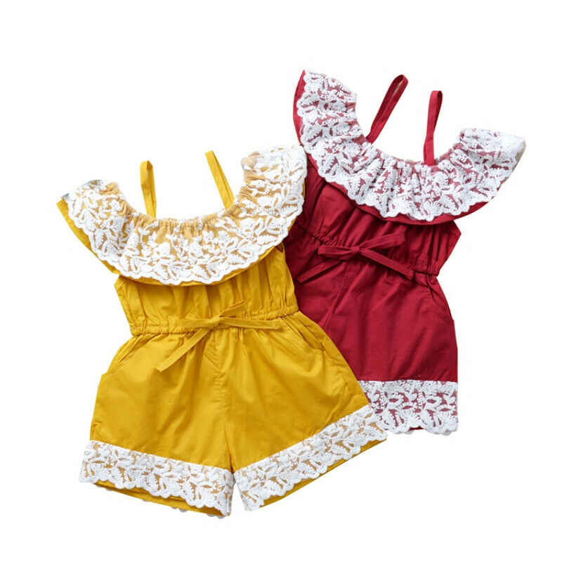 0-3Y Peuter Kids Baby Girl Lace Romper Ruches Mouwen Effen Jumpsuit Speelpakje Outfits Kleding Zomer