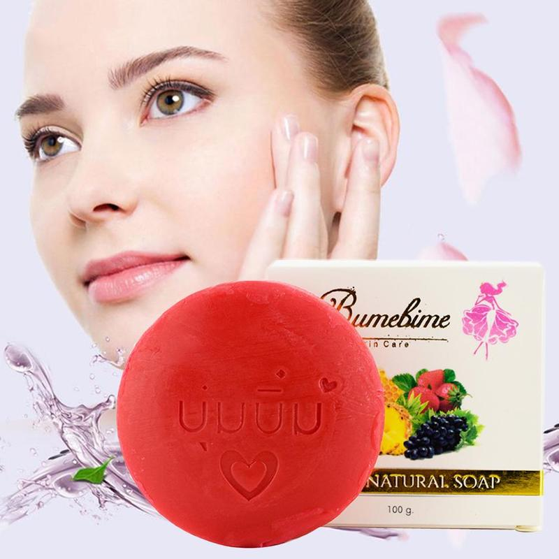 Natural Handmade Whitening Soap Fruits Extract Whitening Reduce Dark Spot White Skin Fast Bright Genuine