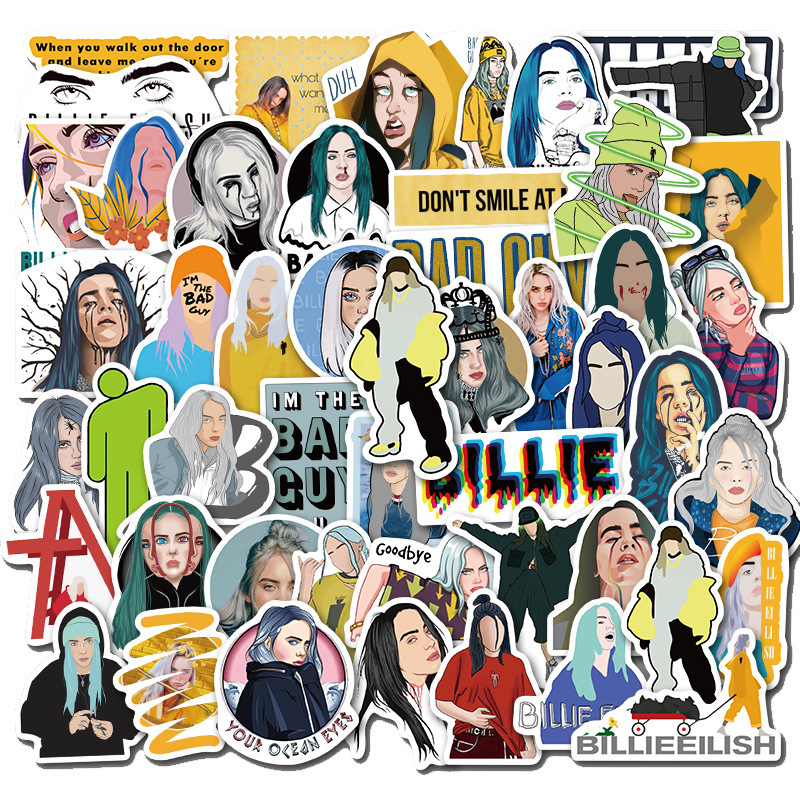 50PCS/lot Pack New Billie Eilish Stickers Decal Waterproof For On Suitcase DIY Laptop Guitar Skateboard Lovely Singer Sticker
