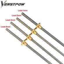 Lead-Screw Nut Trapezoidal-Rod Thread 3d-Printer Brass Lead1mm THSL-300-8D T8 CNC 8mm