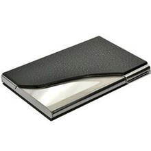 2020 New Black PU Leather&Stainless Steel Business Name Card Case Holder