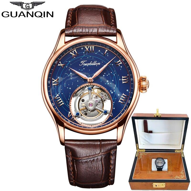 GUANQIN 100% véritable Original Tourbillon montre haut marque de luxe squelette constellation étanche saphir Relogio Masculino