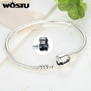 Image 3 - WOSTU Luxury Original 100% 925 Sterling Silver Snake Chain Bracelet Bangle for Women Authentic Charm Jewelry Pulseira Gift