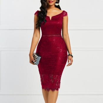 Женское винтажное кружевное платье с V-образным вырезом 2