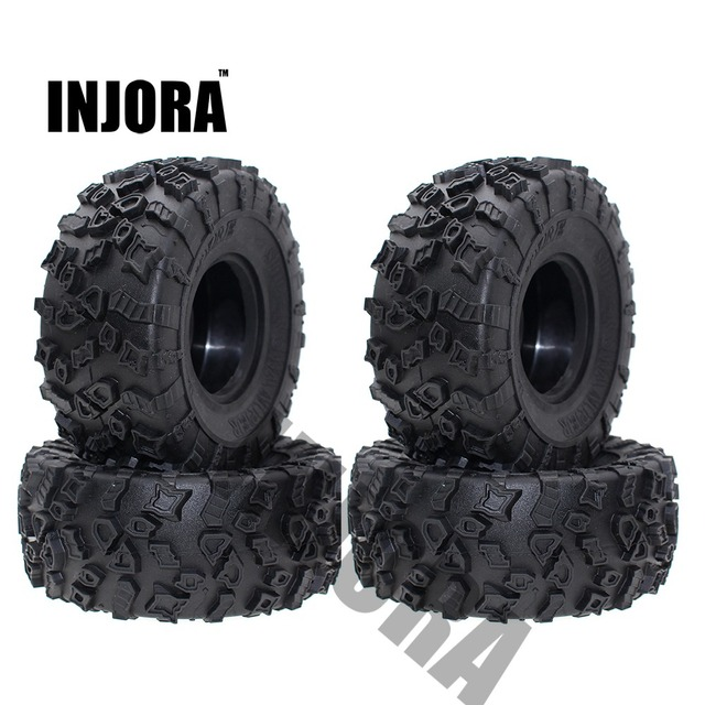 INJORA 4Pcs 2.2 Inch Rubber Tyres Wheel Tires for 1/10 RC Rock Crawler SCX10 RR10 Wraith YETI 90026 90020 90031 90045 90056 1