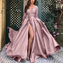 Z-ZOUX Women Dress V-Neck Split Plus Size Long Dres