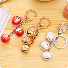 2020 New Super Cute Hello Kitty Keychains Bell Key Chains Bag Pendant Cartoon Kt Lucky Cat Keyrings The Is A Good Gift