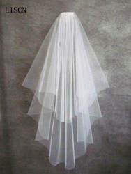 2 слоя низкая цена, Бесплатная доставка Простой тюлевой короткий Свадебный свадебная фата белого цвета и цвета слоновой кости, подобраны