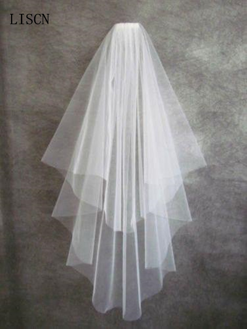 2 Layers Cheap Simple Tulle Short Bridal Veils White Ivory Matched For Wedding Dresses In Stock Bride Accessories