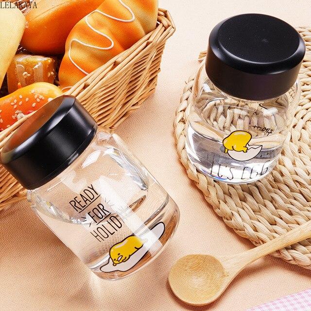 Karikatür Gudetama tembel yumurta sarısı Brother hayvanlar baskılı şeffaf cam öğrenci Unisex su bardağı taşınabilir şişe kupa figürü oyuncak