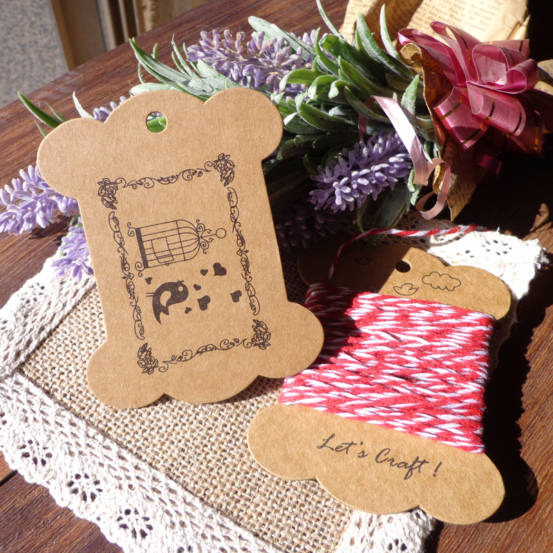 800GSM (épaissir) heureux oiseaux et Cage Style rétro carton Kraft Bobine bricolage fête papier Bobine cartes grande taille cadeau étiquette 100 pièces