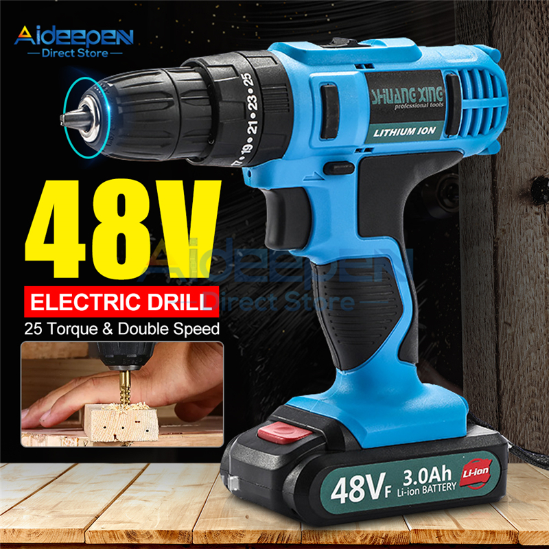 48V Electric Drill Cordless Screwdriver Lithium Battery Mini Drill Cordless Screwdriver Power Tools Cordless Drill