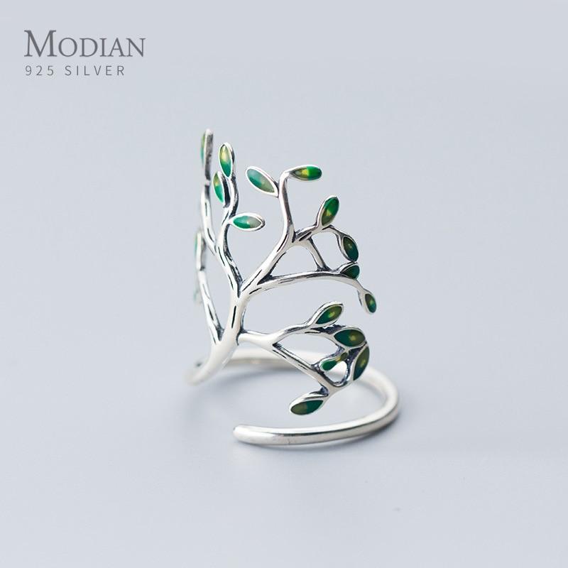 Modian Hyperbole растительное кольцо на палец для женщин Настоящее 925 пробы серебряное дерево ветка листья регулируемое кольцо ювелирные изделия 2020 Новинка|Кольца|   | АлиЭкспресс