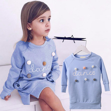 2019 New Spring and Autumn Girls Dress Long-sleeved O-neck Kids Dresses for Girls Cute Letter Hair Ball Sweatshirt Dress Girls