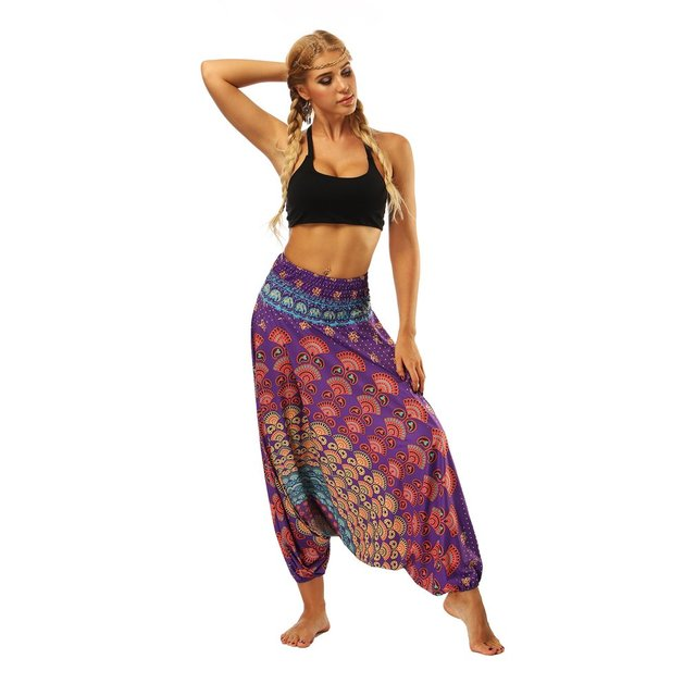2018 New Stylish Ethnic Style 3D Print India Belly Dance Pants Wide Leg Loose Yoga Trousers Women Fitness Pants