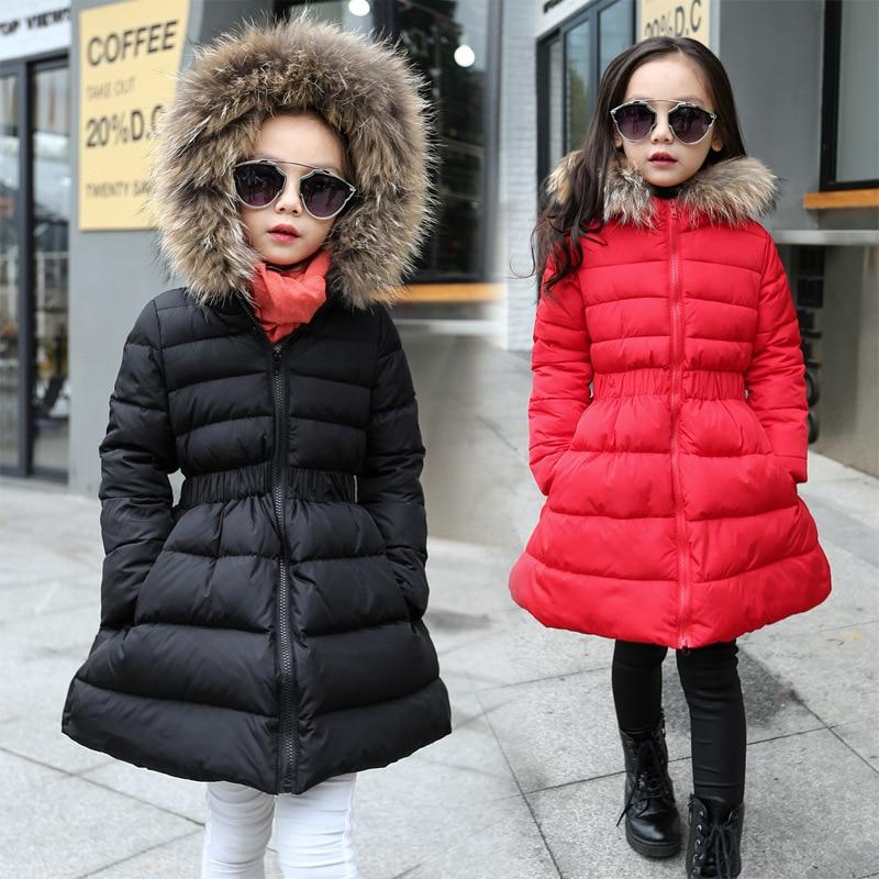 Kids Girl Coat Cotton Down Long Jacket Winter Warm Hooded Fur Collar Outwear New