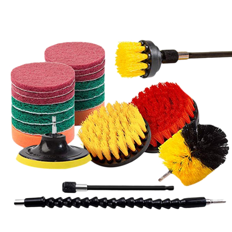 21 Piece Drill Brush Attachments Set Scrub Pads Sponge Power Scrubber Brush with Rotate Extend Long Attachment All Purpose Clean