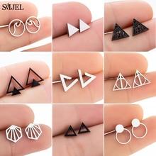 Triangle Earrings Jewelry Ear Piercing Geometric Multiple Stainless-Steel Black Women
