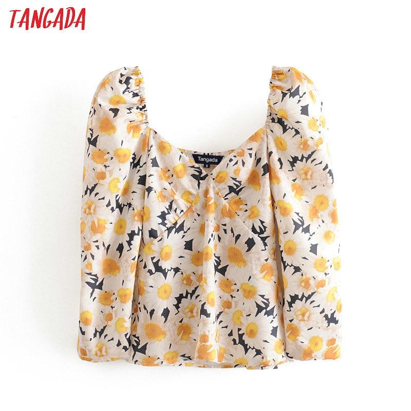 Tangada Women Retro Oversized Flower Print Blouse Puff Long Sleeve Chic Female Casual Shirt Blusas Femininas 3H351