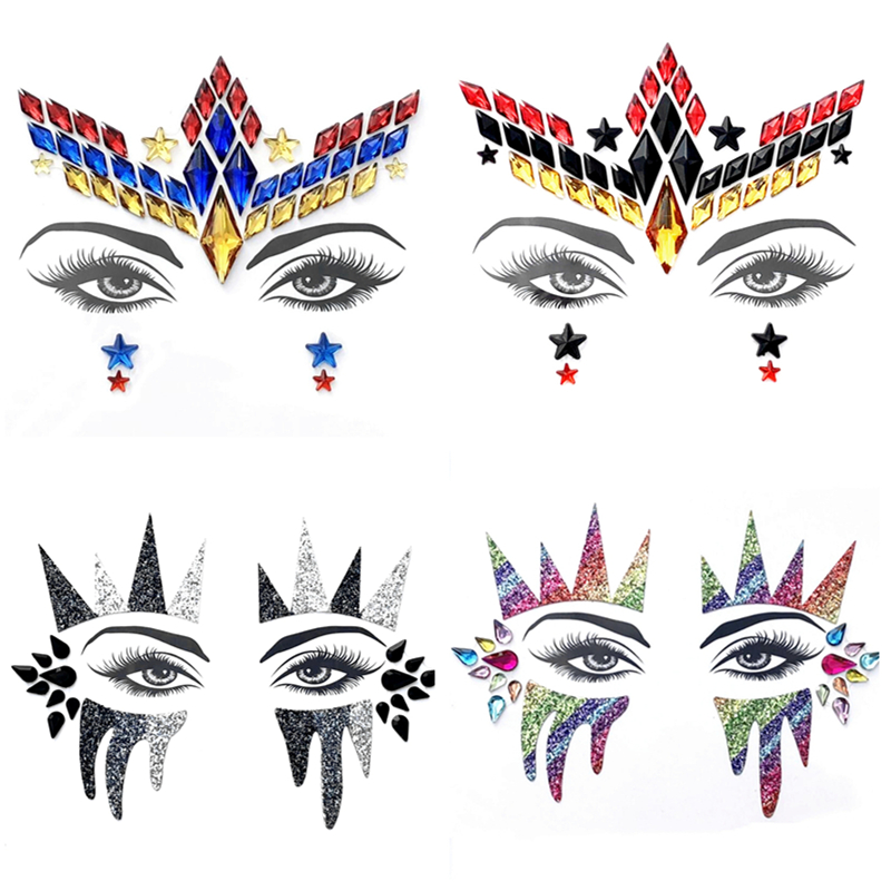 Women Face Jewels Flash Eyes Glitter Crystal Gems Body Art Decor Tattoo Stickers For Halloween Xmas Music Party Makeup 4pc lot in Body Glitter from Beauty Health