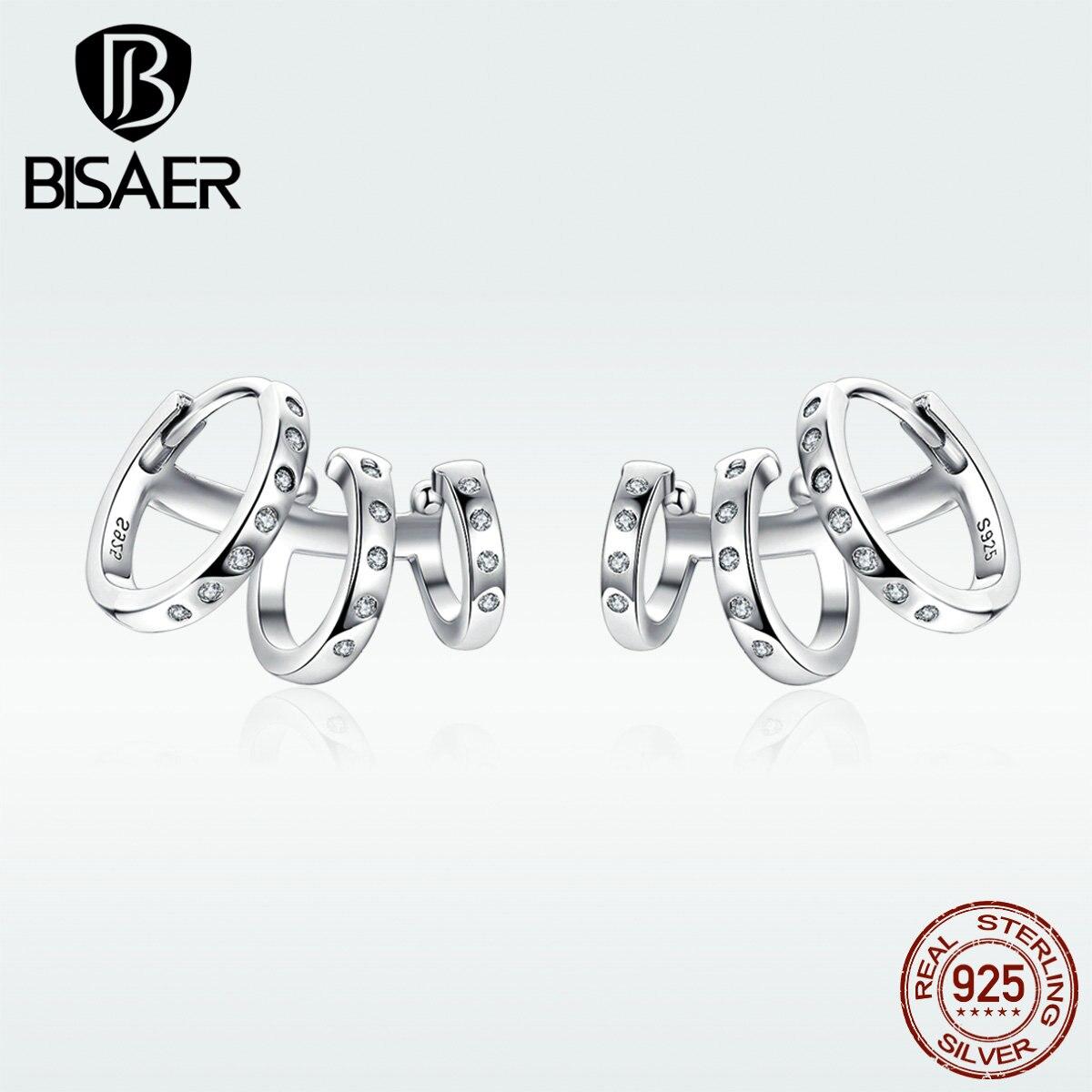 BISAER Punk Earrings 925 Sterling Silver Simple Round Circle Stud Earrings For Women  Punk Statemen't Earrings Wholesales GAE085