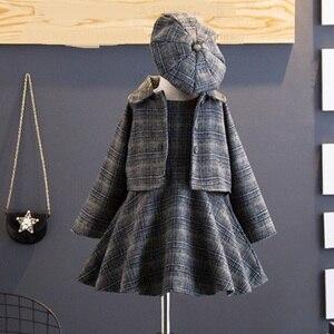 Image 4 - Conjunto de ropa de 3 piezas de Año Nuevo para niña, abrigo, vestido de baile, sombrero, moda de primavera e invierno, disfraz para niño, ropa a cuadros, 2020
