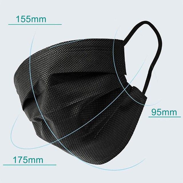 10-500 pcs Black Disposable Masks 3 Layer Non-woven Face Mask Anti-dust Protective Mouth Caps Anti-pollution Masks mascarillas 1