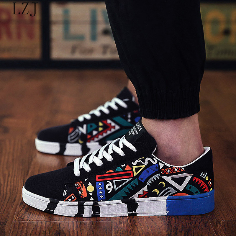 New casual Men Vulcanized Shoes Sneakers Men's Fashion Casual Lace Up Colorful  Canvas Sport