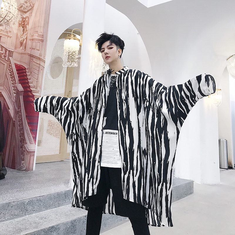 Sun Protective Clothing Fashion Zebra Printed Summer New Mens Thin Long Trench Coat Male Loose Casual Shirt Outerwear