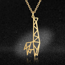 100% Stainless Steel Animal Giraffe Fashion Necklace for Women Wholesale Unique Design Pendant Necklaces Female Trendy Jewelry(China)