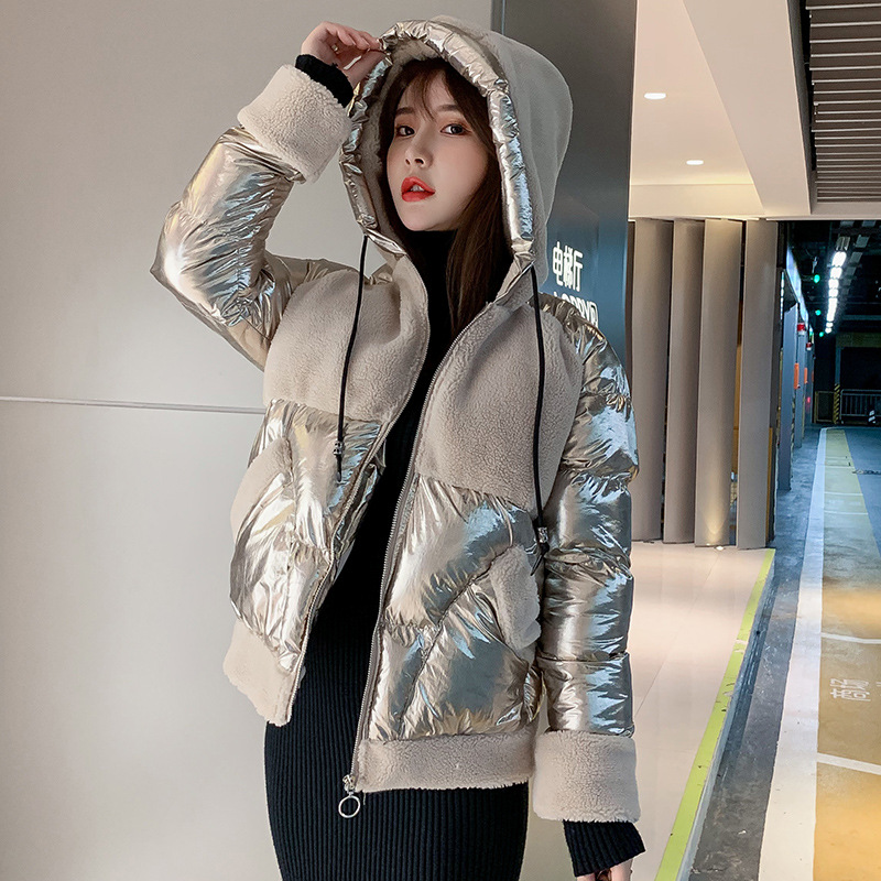 2019 Autumn And Winter WOMEN'S Dress New Style Korean-style Fashion Bright Surface Joint Lambs Wool Long Sleeve Down Jacket Cott