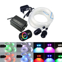 Fiber Optic Star Ceiling kit 2 roll 3/4M optical Fiber +32W RGB Double Heard LED Fiber Optic Engine RF Touch Remote Controller