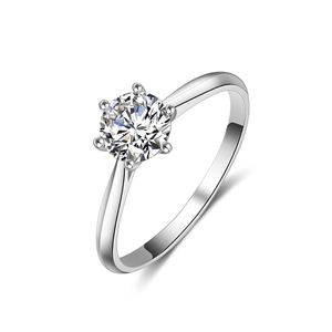 Image 2 - BOEYCJR 925 Silver 6 Claws 0.5ct/1ct/2ct/3ct F color Moissanite VVS  Engagement Wedding Ring With national certificate for Women