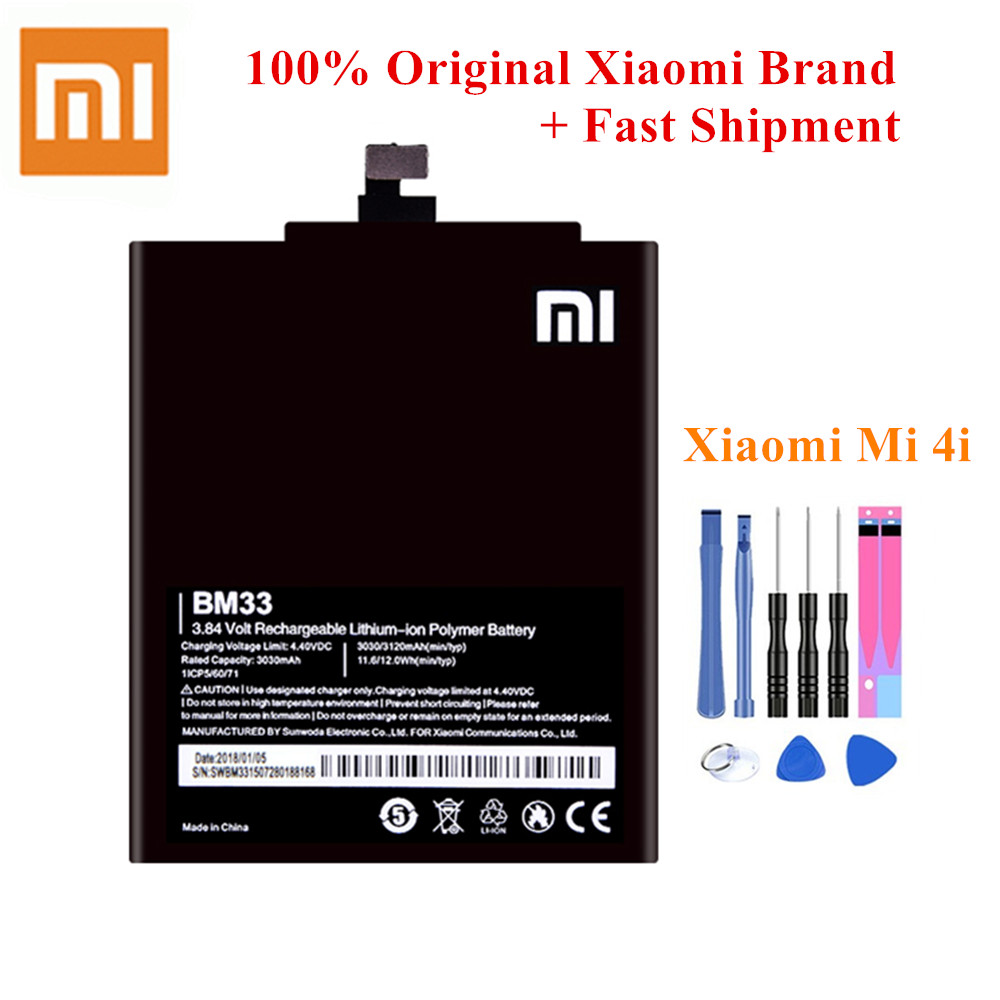 100% Original <font><b>Battery</b></font> BM33 For Xiaomi <font><b>Mi</b></font> <font><b>4i</b></font> Mi4i M4i Genuine Mobile Phone Batteria Best Quality 3030/3120mAh Li-Polymer +Tools image