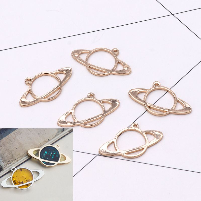 5Pcs Honeybee Planet UV Frame Pendant Open Bezel Setting UV Resin Jewelry DIY