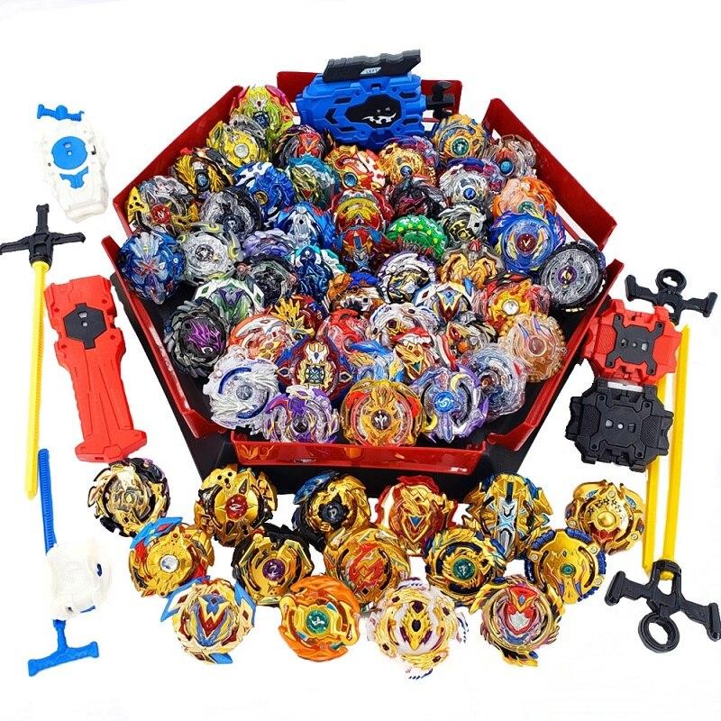 Topos lançadores beyblade conjunto brinquedos com acionador de partida e arena bayblade metal explosão deus girando superior bey lâmina lâminas brinquedos