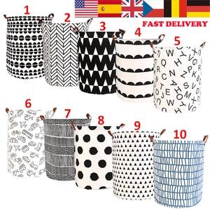 1pc Folding Laundry Basket Round Storage Bin Bag Large Hamper Collapsible Clothes Toy Basket Bucket Organizer Large Capacity(China)