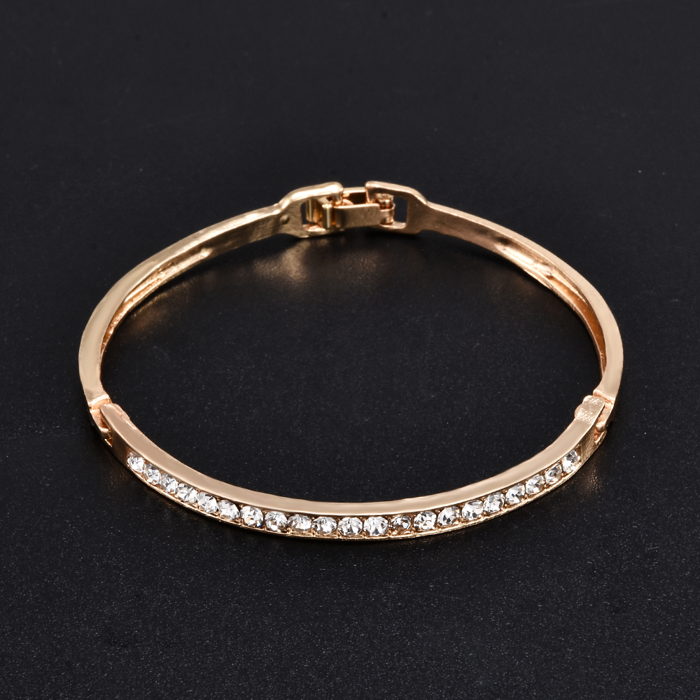 Fashion Gold Stainless Steel White Rhinestone Crystal Bracelet Women Wedding Party Cuff Bangle Bracelet Jewelry