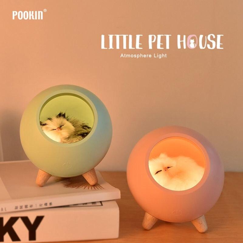 led bonito gato de casa atmosfera de luz sensor de toque lampada de mesa regulavel pet