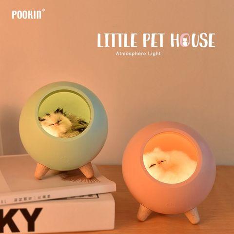 led bonito gato de casa atmosfera de luz sensor de toque lampada de mesa regulavel