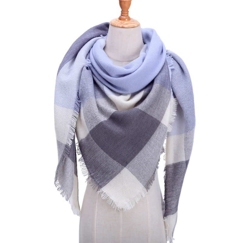 Women Winter Scarf Retro Plaid Cashmere Knitted Pashmina Shawls Wraps Lady Soft Triangle Scarves Bandana 2019 Fashion